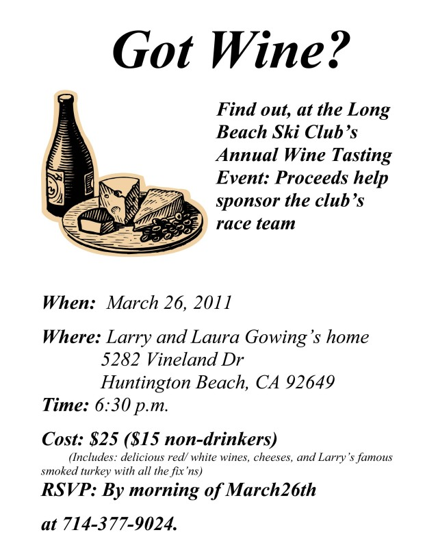 Wine Dinner Ski Club Fundraiser